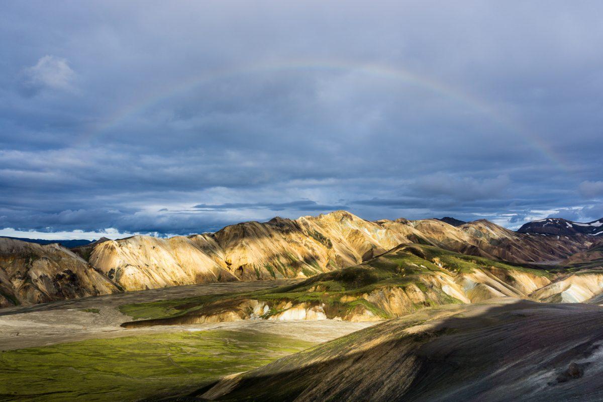Радуга над пастельными горами Landmannaugar